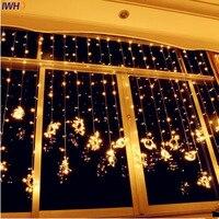 IWHD 4x3M Garland LED Christmas Lights Indoor 110 220V Fairy Light EU US Plug Luce Navidad