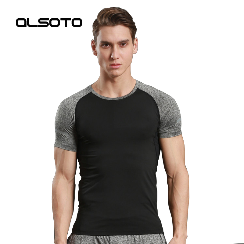 Summer style Men running t-shirt Fitness quick-drying round neck short sleeve Gym Joggers wicking stretch Tight Top