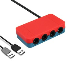 3 in 1 Controller Adapter Connection Tap Converter with 4 Extension Cables for Nintendo Wii U Gamecube Switch and PC USB