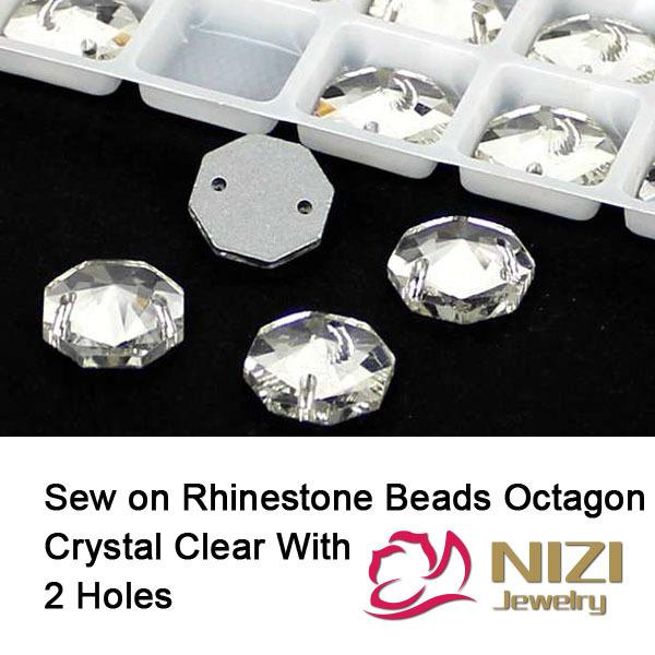 10mm 12mm 14mm 16mm 18mm Contas de Vidro Octagon Natator Crystal Clear contas Costurar Em Grânulos De Cristal DIY Beads Para Vestuário High Shine