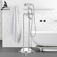 Bathtub Faucets Luxury Gold Brass Bathroom Shower Faucet Rain Handheld Euro Floor Stand Telephone Bath Shower Mixer Tap WF 5021L