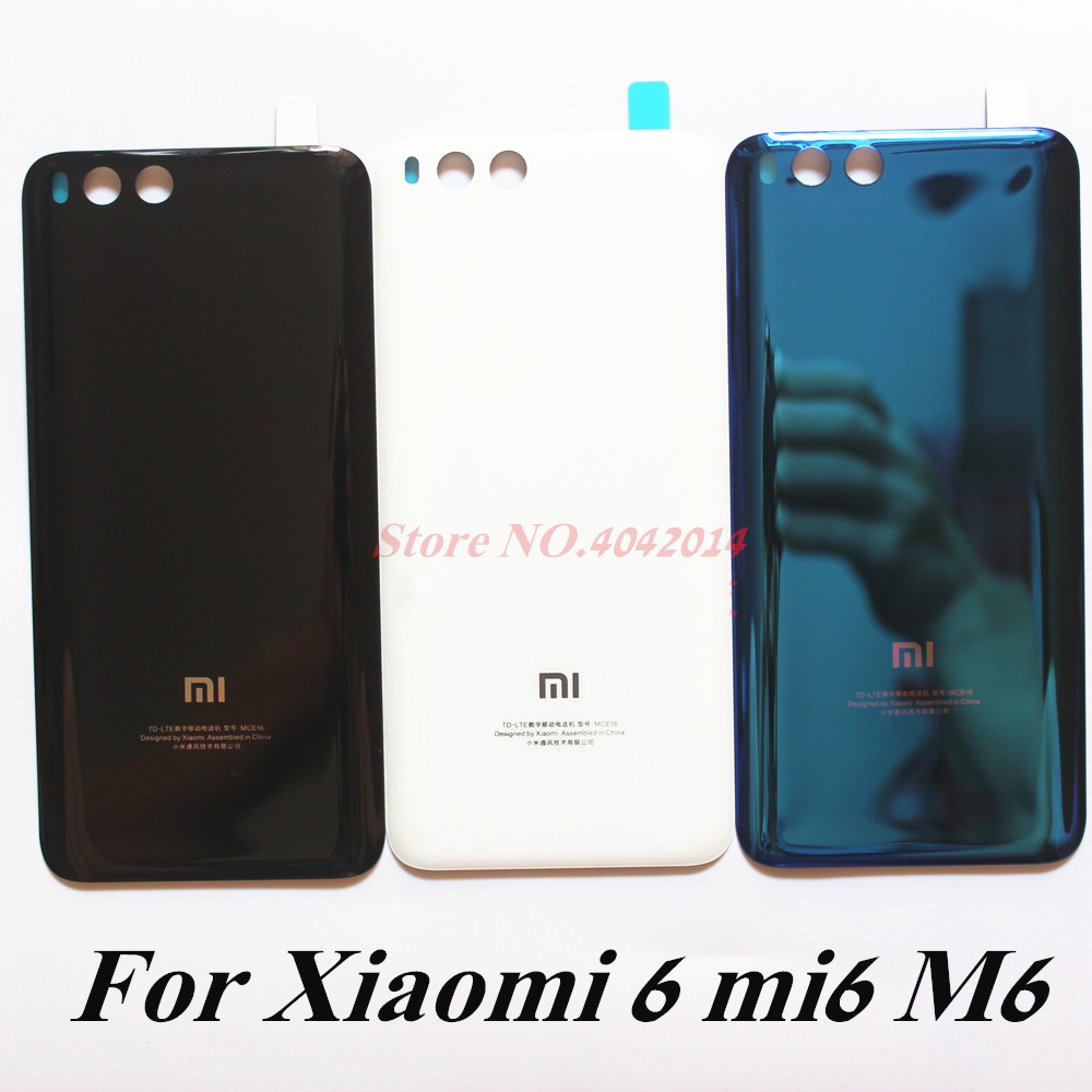 <font><b>Original</b></font> Glass Back <font><b>Cover</b></font> housing door For <font><b>Xiaomi</b></font> 6 <font><b>mi6</b></font> <font><b>Battery</b></font> <font><b>cover</b></font> shell Mobile phone case Replacement parts image