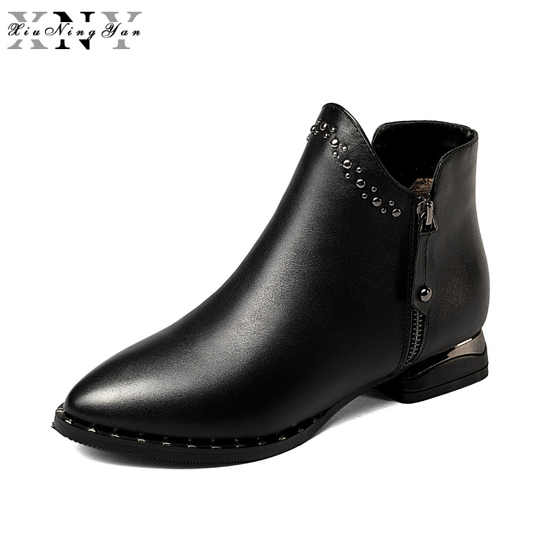 XiuNingYan Women Boots 2017 New Fashion Shoes Woman Genuine Leather Black Ankle Boots Autumn Winter Warm Wool Snow Boots Botas цены онлайн