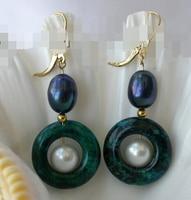 Miss Charm 0000210 22mm Coin Green Malachite Black Pearl Dangle Earrings 14K