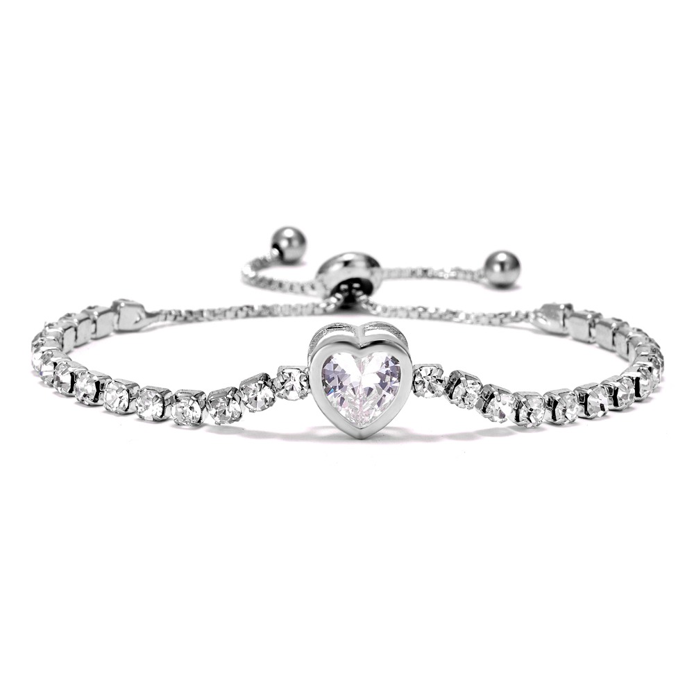 Crystal Heart Charm Tennis Bracelet For Women Transparent Cubic Zirconia Bracelets & Bangles Femme Bridal Wedding Jewelry