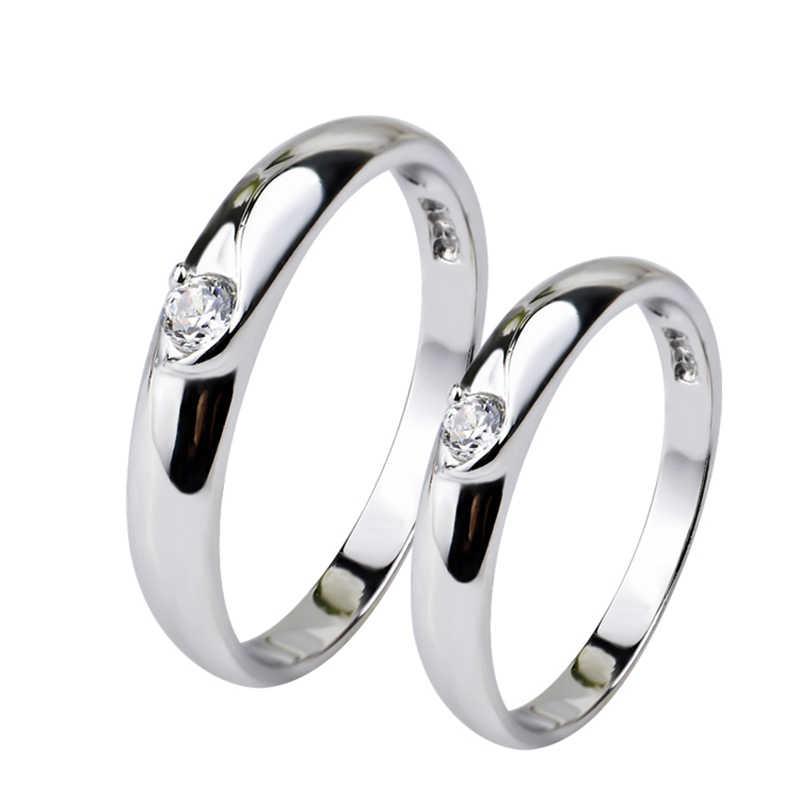 100% แท้ 925 แหวนเงินคริสตัล Charming แหวนสำหรับคนรักแฟชั่นเครื่องประดับหมั้นของขวัญ GNJ0190