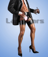 Man Transparent Latex Shorts Garter Stockings Cross dressing Rubber Latex Man Sexy Lingerie without the tops