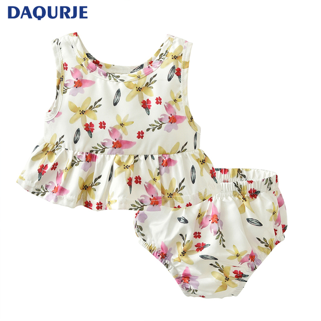 0 24 Month Cute Lolita Summer Newborn Baby Girl Clothes Lotus Flower