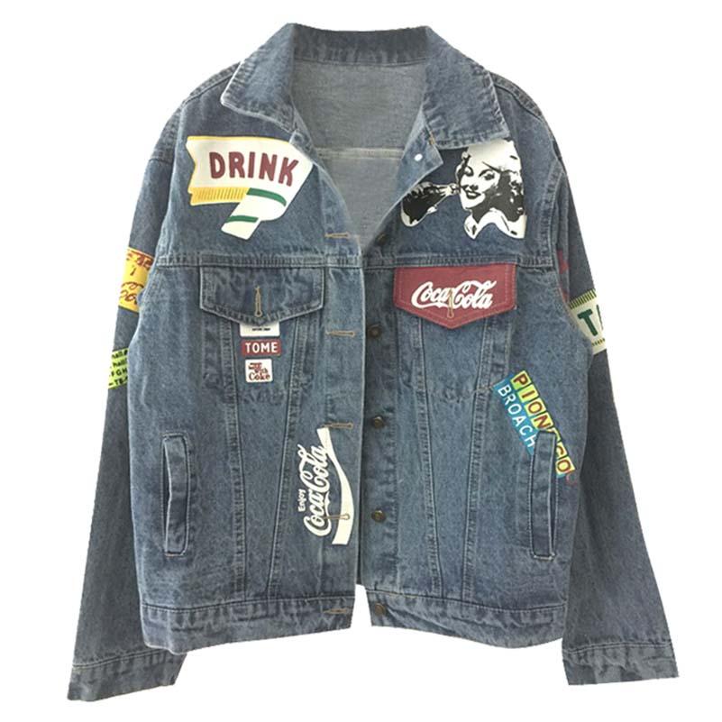 NiceMix Autumn Letter Graffiti Denim Jacket For Women Streetwear Harajuku feminine coat BF Women's Windbreaker Jeans Jacket
