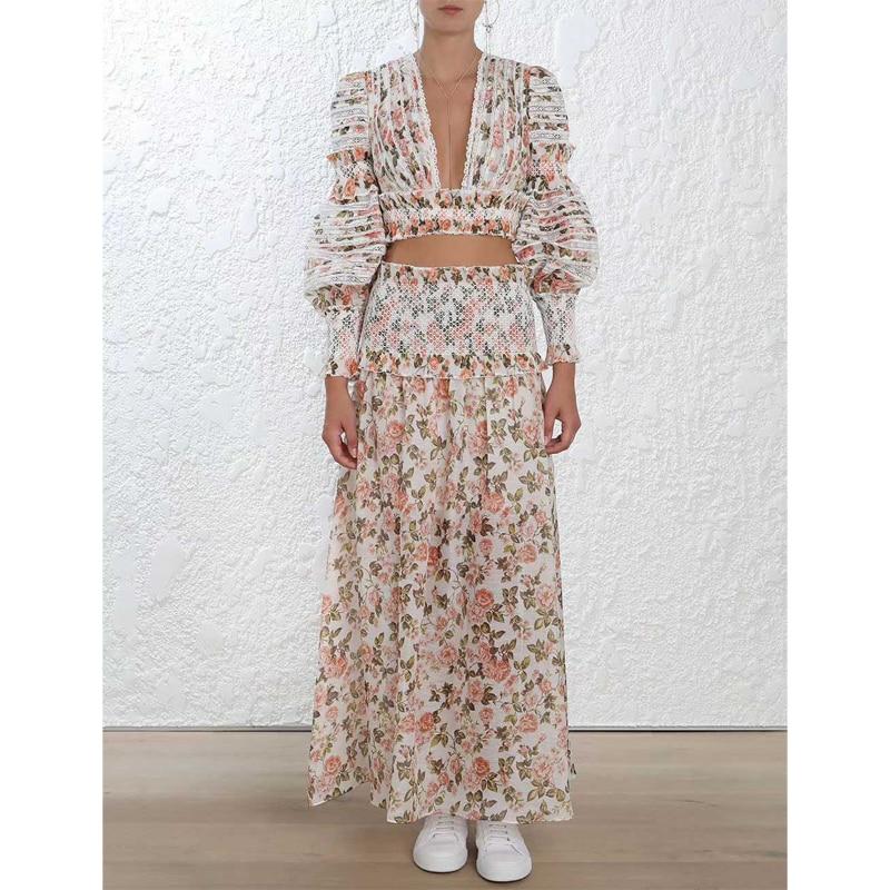 2018 새로운 도착 가을 여자 드레스 럭셔리 브랜드 활주로 유럽 디자이너 꽃 프린트 프릴 레이스 블라우스 세트 파티 리조트 드레스-에서드레스부터 여성 의류 의  그룹 1