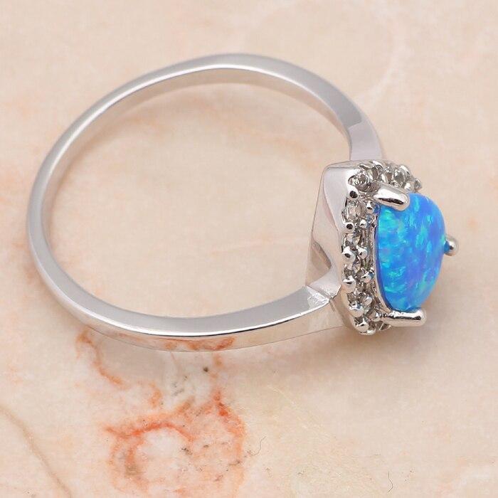 Капля воды из синего, розового цвета огненный опал Серебро штампованные Модные украшения ко дню рождения кольца с настоящими Австрийскими кристаллами Размер США с увеличенной полнотой#6,5#7,5#7,75#6,75#6#8,5 OR394