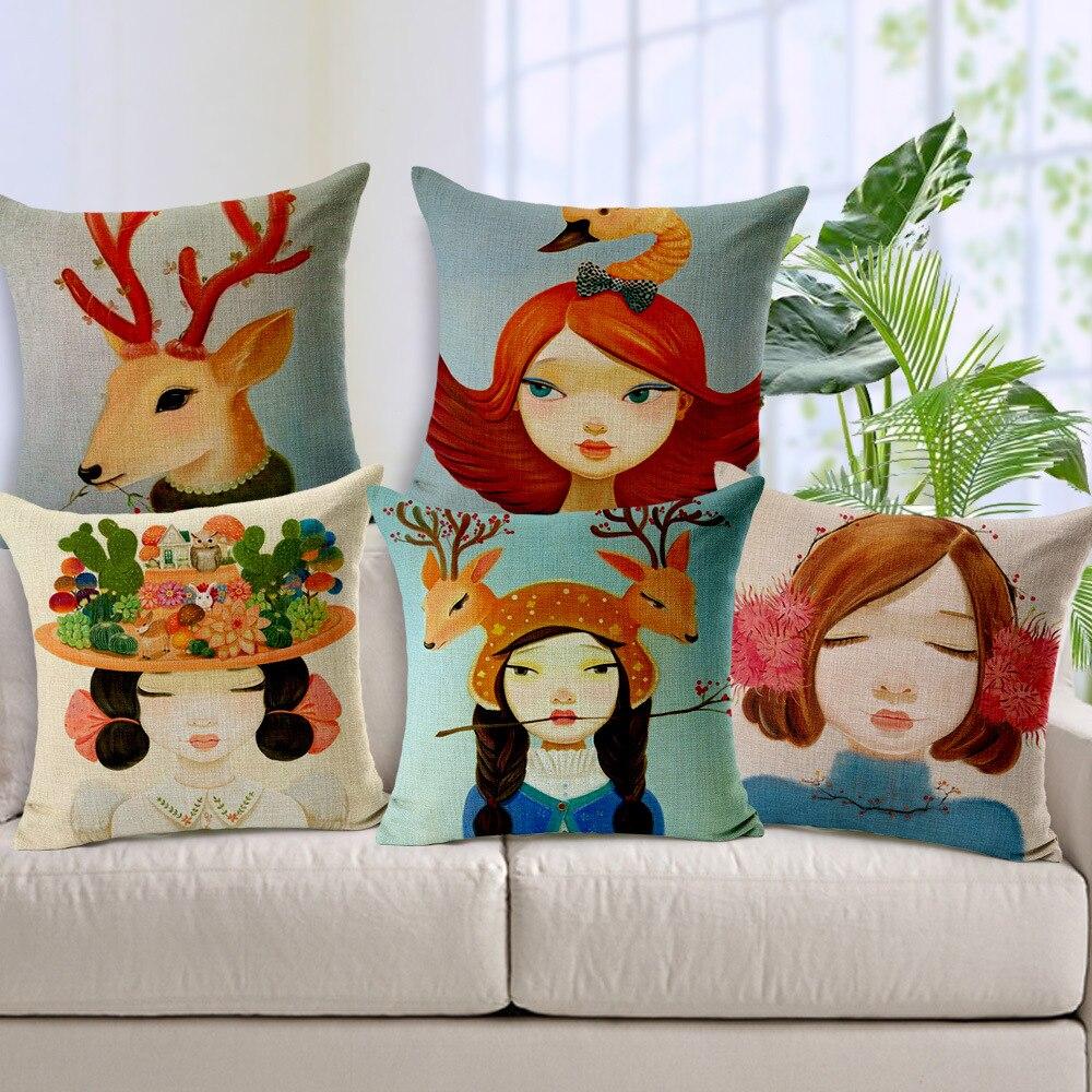 1pcs pillowcase various shapes animation haired girl - Cojines pintados en tela ...
