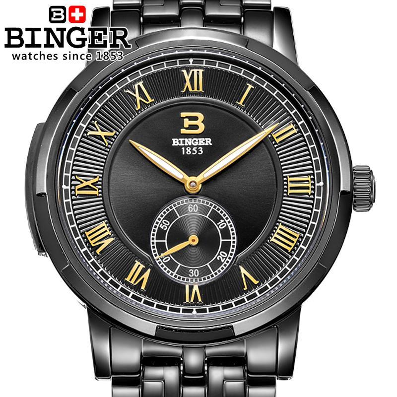 Switzerland BINGER Sport Watches for Men Automatic Mechanical Wristwatch stainless steel Strap Unique Second Hand Design Watch цена