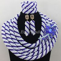 Fabulous White/Blue Crystal African Wedding Beads Bridal Jewelry Sets Nigerian Necklace African Jewelry Set Free Shipping AIJ133