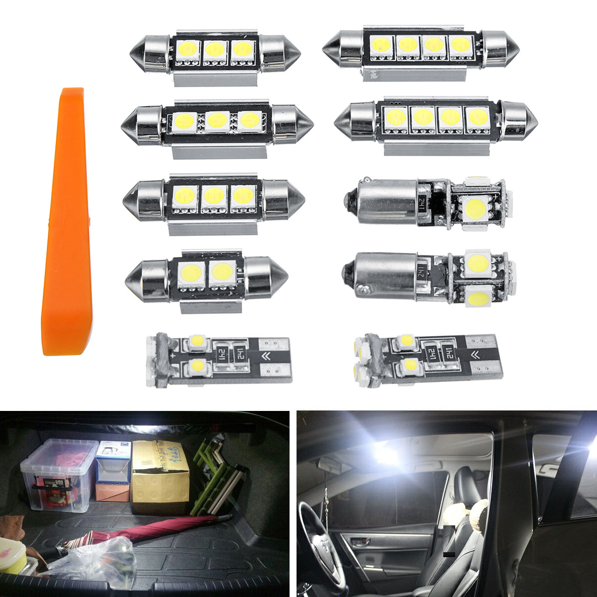 Fits Renault Kangoo 1.6 16V bivalent White 12-SMD LED COB Number Plate Bulb