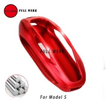 Carcasa de aleación de aluminio para llave de coche, funda protectora para bolsa de almacenamiento, funda de cartera roja y negra para Tesla Model S X Accesorios