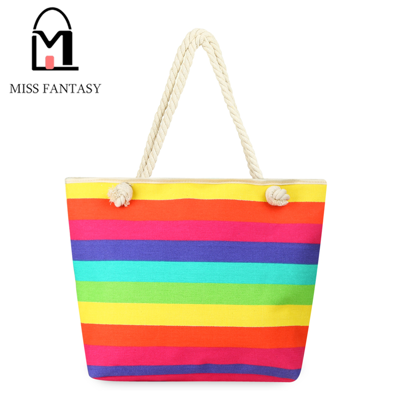 2017 New Spring Women's Canvas Handbag Bohemia Style Beach Bag Colorful Rainbow Shopping Bags Big Tote Bags Travel Shoulder Bags