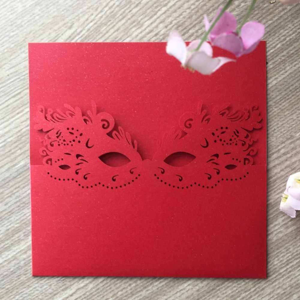 50 pcs délicat Laser coupe masque motif mariage Initations cartes carnaval décorations carte de voeux parti faveur