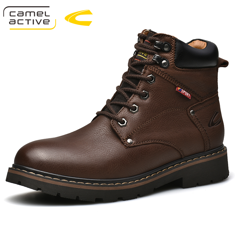 Camel Active New Genuine Leather Combat Shoes Military Ankle Boots Casual Safety Shoes Winter Warm Men Shoes Zapatos De Hombre