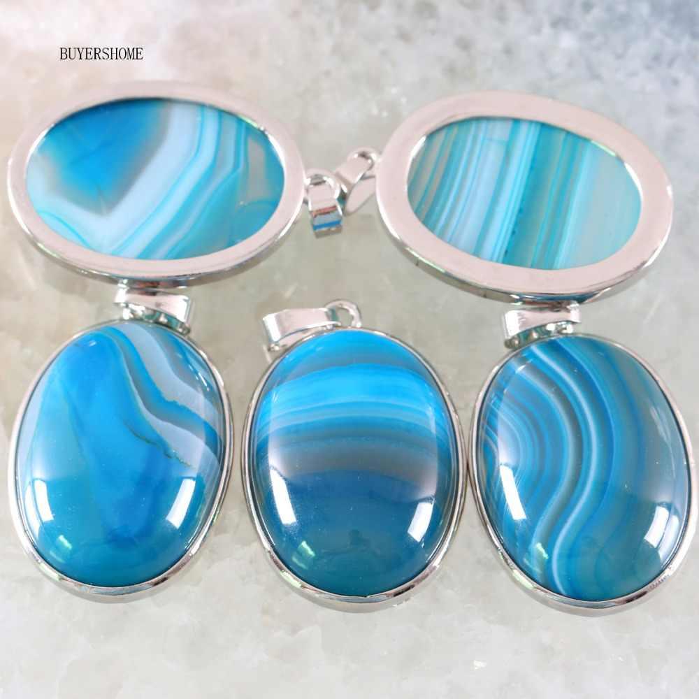 送料無料シルバーカラー楕円天然石ビーズブルー静脈オニキス女性ネックレスペンダント 1 個 K667