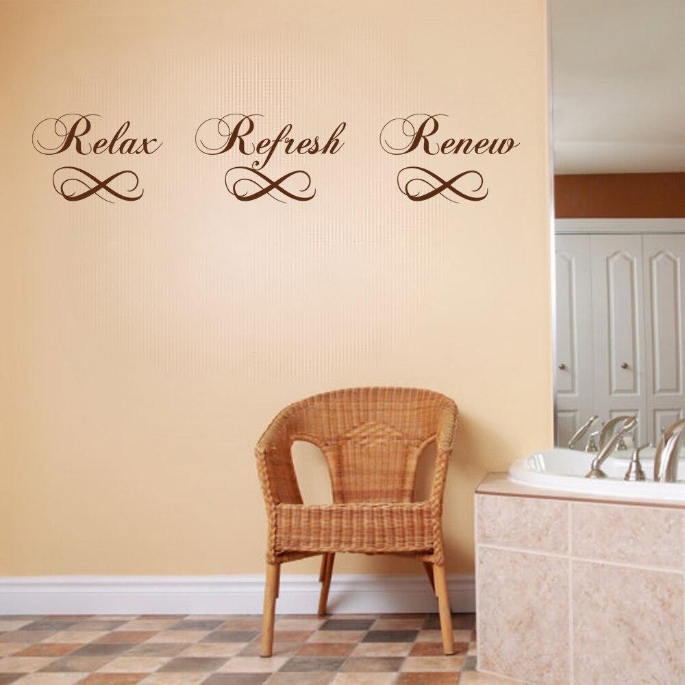 relax refresh renew wall decal bathroom wall sticker home decor elegant vinyl lettering bathtub quote 10cm