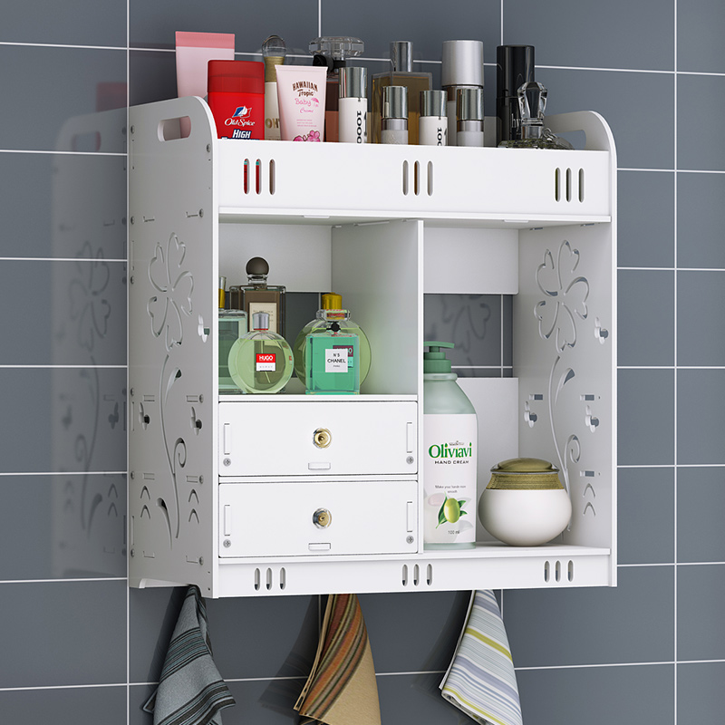 A1 Bathroom shelf toilet bathroom wall mounted cabinet shelf free punching Cosmetic storage box wx11131356