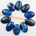 Free Shipping Interesting Wholesale 10Pcs Blue Onyx Agate Oval CAB CABOCHON 30x20x7mm SHX29