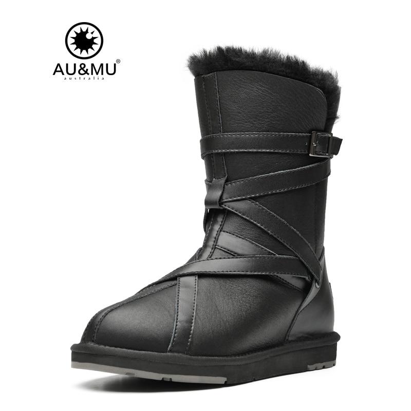 2018 AUMU Australia Fur Flat Leather Slip-on Thick Platform Solid Round Toe Rubber Soles Mid-calf Snow Winter Boots N363