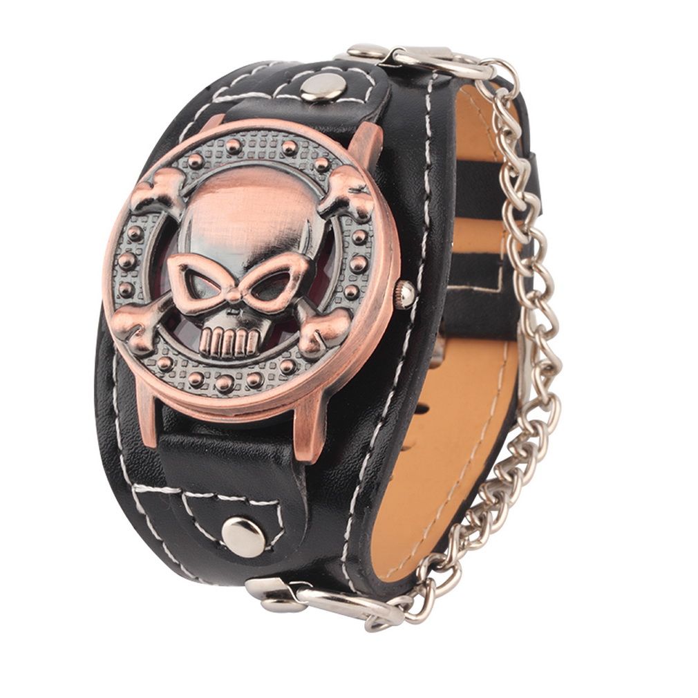 все цены на Skull Cover Quartz Watch for Men Women PU leather Wristband Bracelet Biker Metal Relogio Masculino Wide Strap For Cool Gifts