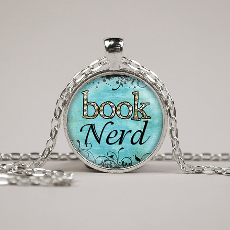 Book Nerd Necklace Glass Art Print Jewelry Charm Gifts For