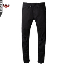 High Quality Justin Bieber Black Designer pants Men Ripped Jeans Black Destroyed Slim Denim Casual Skinny Jeans 30-36 trousers