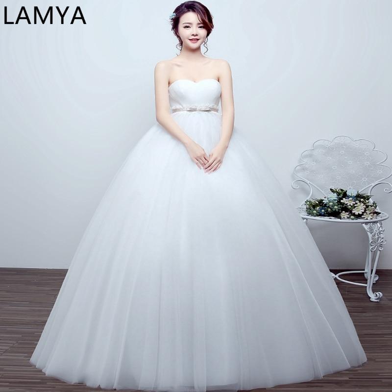 Romantic Wedding Dresses 2019: LAMYA Pregnant Women Wedding Dress High Waist 2019 New