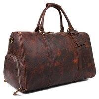 Men Duffle Bag Luggage Travel Bag Vintage Crazy Horse Genuine Leather Bag Natural Cowhide Large Weekend Bag Handbag X 7077