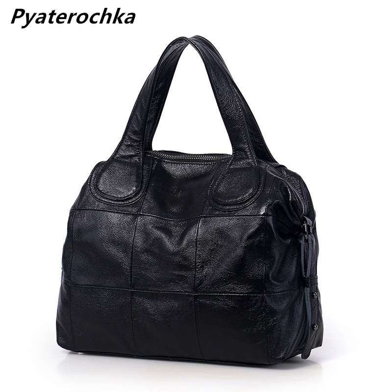 Pyaterochka Genuine Leather Handbags Large Capacity Women Casual Boston Shoulder Bags Luxury Totes Famous Brand 2018 Bag Bao Bao famous brand unique design beach bag nets bucket bags female handbags hollow bao bao women shoulder bags summer totes bag tassel