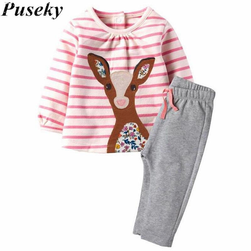 Puseky Infant Toddler Baby Kid girls Polka Dot Stripe Deer Fox Print Long Sleeves Top+long Pants 2-7Y Children Clothes Set