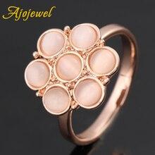 Ajojewel Beige Opal Flower Ring With Stone For Women Finger Rings Fashion Jewellery Bijoux Femme