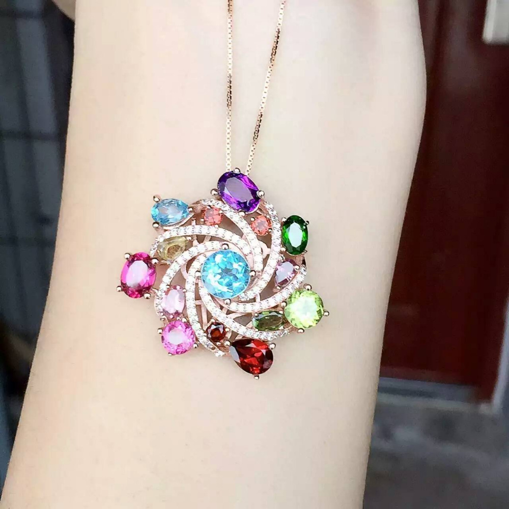 natural Multicolor jade pendant S925 silver Natural topaz gem Pendant Necklace trendy Ferris wheel women girl party jewelry