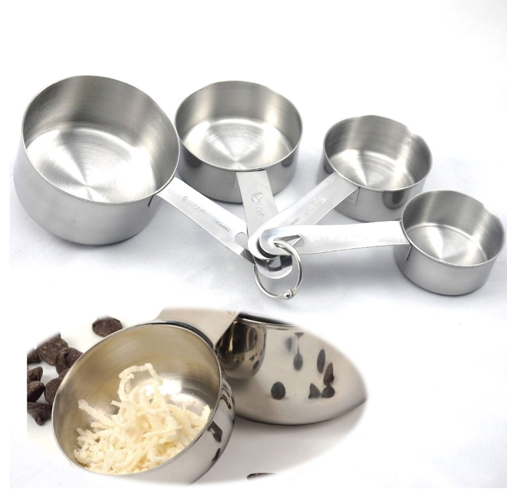New Baking Tools For Cake 4PCS Stainless Steel Measuring Cups Spoon Kitchen Scale Flour Sugar Making