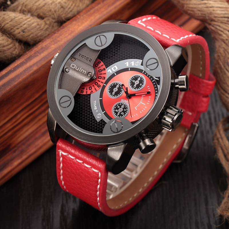где купить Oulm Casual Military Watches Man Fashion Leather Quartz Watch Men Brand Luxury Wristwatch Big Design Male Clock montre homme дешево