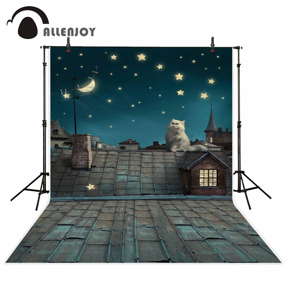 Allenjoy photo background Children backdrop cat night roof sky photographic background photography studio funds allenjoy background for photo studio full moon spider black cat pumpkin halloween backdrop newborn original design fantasy props