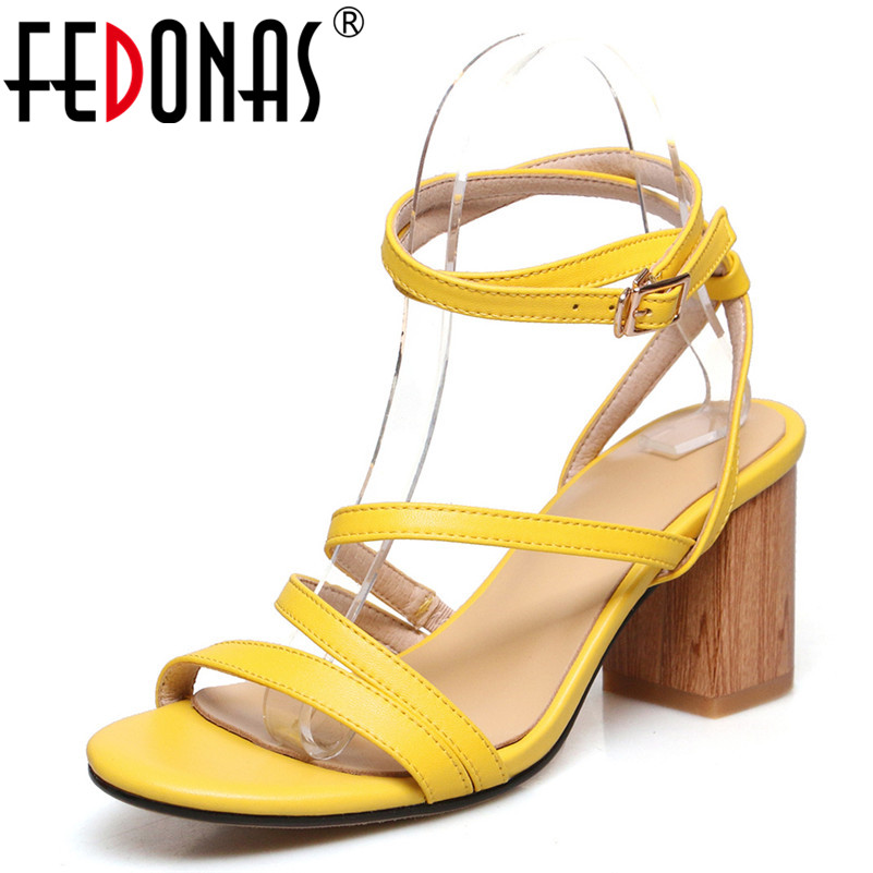 FEDONAS Fashion Narrow Band Women Sandals 2019 Summer New High Heels Genuine Leather Shoes Woman Party Night Club Prom ShoesFEDONAS Fashion Narrow Band Women Sandals 2019 Summer New High Heels Genuine Leather Shoes Woman Party Night Club Prom Shoes