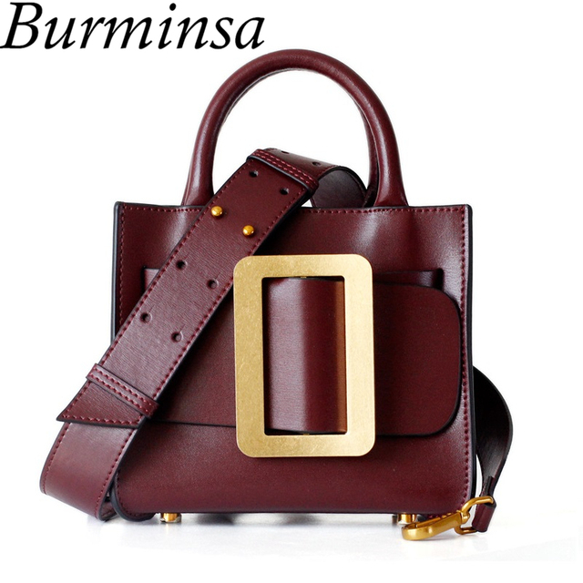 688e738acc36 Burminsa Fashion Small Genuine Leather Handbags Wide Strap Ladies Shoulder  Bags Unique Designer Crossbody Bags For Women 2019