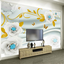 Custom wallpaper 3d mural HD white jade flower vine jewelry background wall papers home decor papel de parede