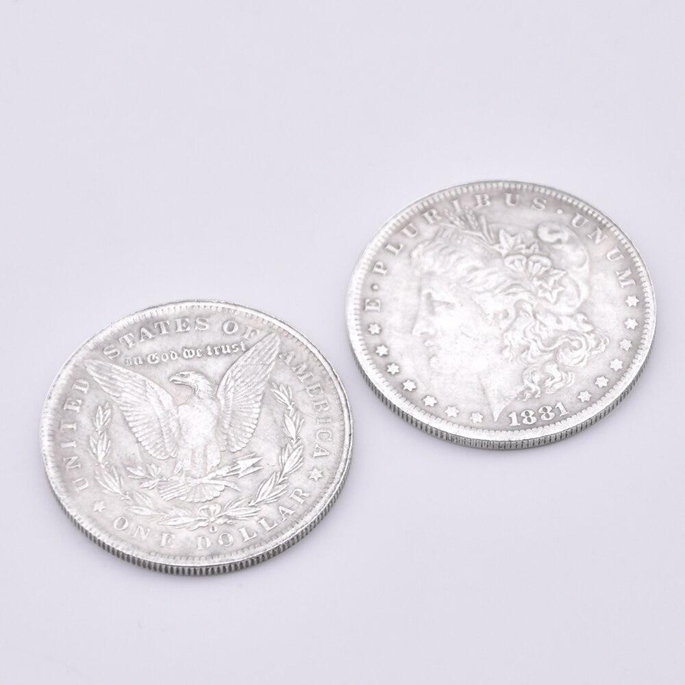 50pcs Steel Morgan Dollar Dia 3 8cm Magic Tricks Stage Close Up Street Accessories Gimmick Illusions