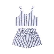 White Stripes Clothes 2Pcs Set Toddler Baby Girls Kids T-shirt Vest Tops+ Short Pant Outfit for Children Summer