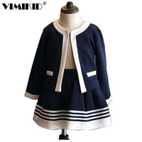 VIMIKID 2018 Autumn kids Clothes Girls Clothing Set Navy Blue Short Jacket and Skirts Suits Children Formal School Uniform k1