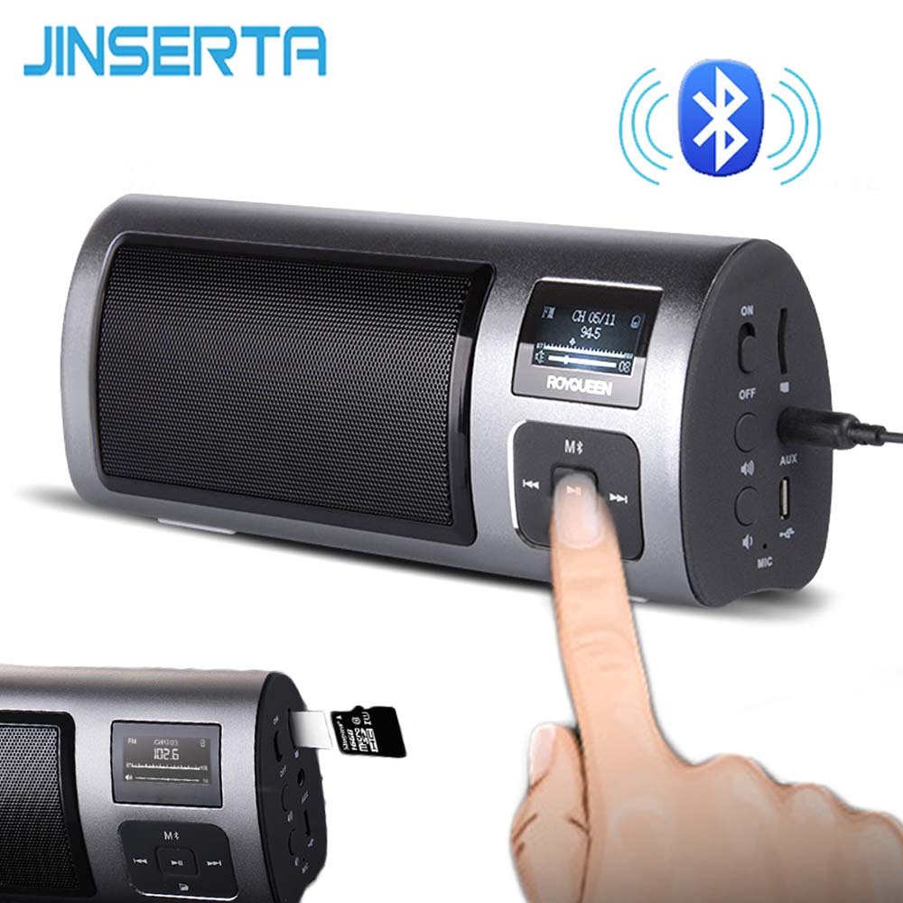 JINSERTA Portable FM Radio Bluetooth Receiver Speaker Music Player Support Handsfree TF Card Play with LCD