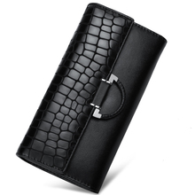 Genuine Leather Long Hasp Woman Wallets Designer Brand Clutch Card Holder Purse Alligator Lady Party Handbag Bag Crocodile Logo