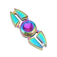 Aleación De Zinc Mano Spinner Rotación de Dos Esquinas Cangrejos Punta Giroscopio Bola Arco Iris de Color Anti-Estrés Juguete Dedo Fidget M09