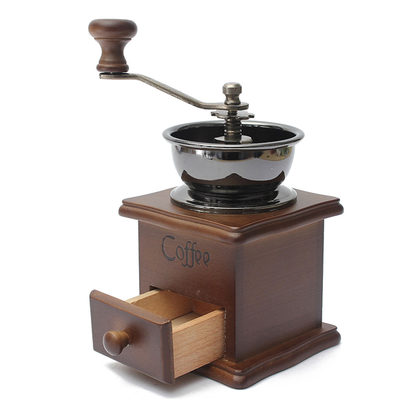 все цены на  Coffee Grinder  Manual Coffee Mill Moedor De Cafe Wood Stand Bowl Antique Hand Coffee Bean Grinder  онлайн